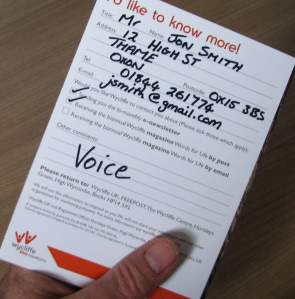 Wycliffe Voice sign up card