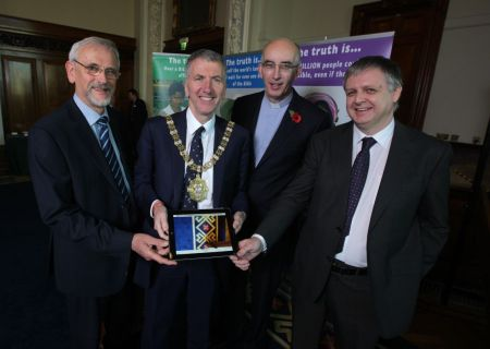 Philip Saunders joins Belfast Lord Mayor Mairtin O Muilleoir and others