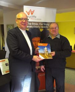 Moderator Rob Craig welcomed by Wycliffe UK's NI Coordinator John Young