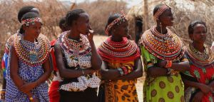 Some Samburu people in traditional dress