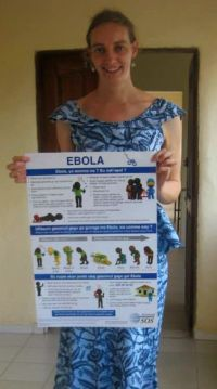 Clare with one of the Ebola posters