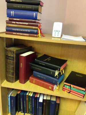 Bibles and New Testaments in the Wycliffe office in Belfast