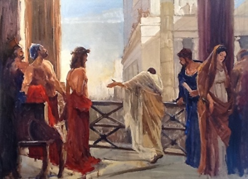 Pilate presents Jesus to thew crowd